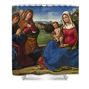 The Virgin And Child Adored By Two Angels Shower Curtain