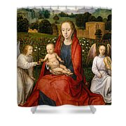 The Virgin And Child Between Two Angels Shower Curtain