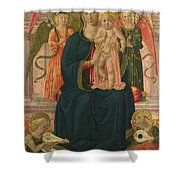 The Virgin And Child Enthroned With Angels Shower Curtain