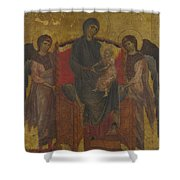 The Virgin And Child Enthroned With Two Angels Shower Curtain