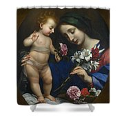 The Virgin And Child With Flowers Shower Curtain