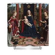 The Virgin And Child With Saints And Donor Shower Curtain
