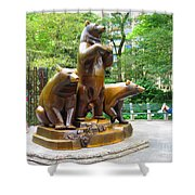 Three Bronze Sculpture Statue Of Bears Great Attraction At New York Ny Central Park By Navinjoshi Shower Curtain