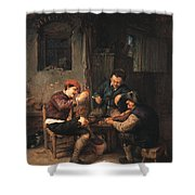 Three Peasants At An Inn Shower Curtain