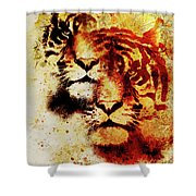 Tiger Collage On Color Abstract Background And Mandala With Ornament Wildlife Animals Shower Curtain