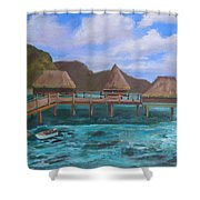 Tiki Hut Vacation Shower Curtain