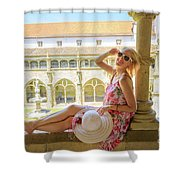 Tourist Woman In Coimbra Shower Curtain