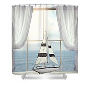 Toy Boat In Window Shower Curtain