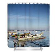 Traditional Fishing Boats On Dili Beach In East Timor Leste Shower Curtain