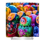 Family Of Mother Russia Matryoshka Dolls Oil Painting Photograph Shower Curtain