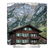 Traditional Swiss Alps Houses In Vals Village Alpine Switzerland Shower Curtain