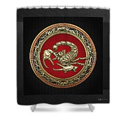Treasure Trove - Sacred Golden Scorpion On Black Shower Curtain
