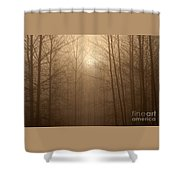 Trees Silhouetted In Fog Shower Curtain