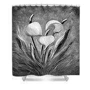 Tropical Flowers In Black And White Shower Curtain