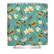Tropical Island Floral Half Drop Pattern Shower Curtain