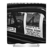 Truck With Right Wing Decal And Helldorado Days Poster Tombstone Arizona 1970 Shower Curtain