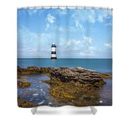 Trwyn Du Lighthouse Shower Curtain