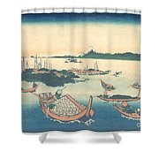 Tsukudajima In Musashi Province Shower Curtain