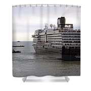 Tugboat Assisting Big Cruise Liner In Venice Italy Shower Curtain
