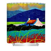 Turquoise Meadow And Poppies Shower Curtain