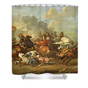 Two Battle Scenes Between Christians And Saracens Shower Curtain