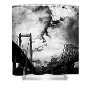 Two Bridges One Moon Shower Curtain