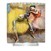 Two Dancers In Yellow And Pink Shower Curtain