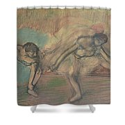 Two Dancers Resting Shower Curtain by Edgar Degas