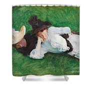 Two Girls On A Lawn Shower Curtain