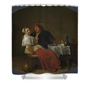 Two Lovers At Table Shower Curtain