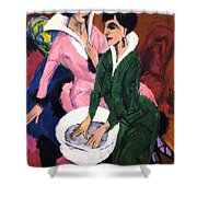 Two Women With A Washbasin Shower Curtain