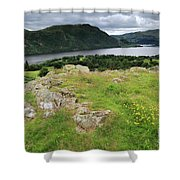 Ullswater Lake From Gowbarrow Fell, Lake District Shower Curtain