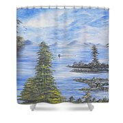 A Man Fishing Through With A Canoe In The Forestry River Shower Curtain