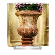 Urn With Purple Flowers Shower Curtain