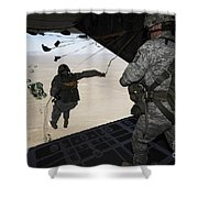 U.s. Airmen Jump From A C-130 Hercules Shower Curtain