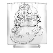 Us Navy Diving Helmet Mark V Shower Curtain