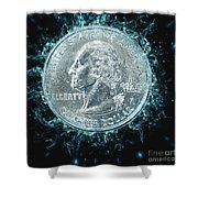 Us One Quarter Dollar Coin 25 Cents Shower Curtain