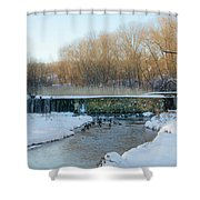 Valley Creek Waterfall In Winter  Shower Curtain
