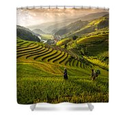 Valley In Sunset Shower Curtain