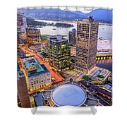 View Of Vancouver At Dusk. Shower Curtain
