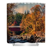 Vermont Covered Bridge Over The Dog River Shower Curtain