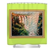 Victoria Waterfalls L B With Alt. Decorative Ornate Printed Frame. Shower Curtain