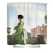 Victorian Woman In A Green Dress Shower Curtain