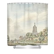 View Asperen With The City Walls And The Steeple Shower Curtain