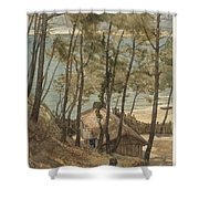View From A Hill On A House On The Gulf Of Arcachon, August Allebe 1876 Shower Curtain