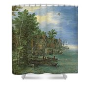 View Of A Village Along A River Shower Curtain