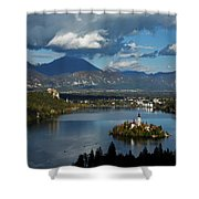 View Of Lake Bled From Ojstrica Shower Curtain