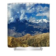 View Of Snow Peaks Leh Ladakh  Jammu And Kashmir India Shower Curtain