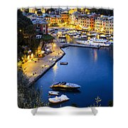 View Of The Harbour At Dusk  Portofino Shower Curtain