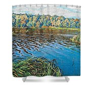 View Of The Lake Nikolai Petrovich Bogdanov-belsky Shower Curtain